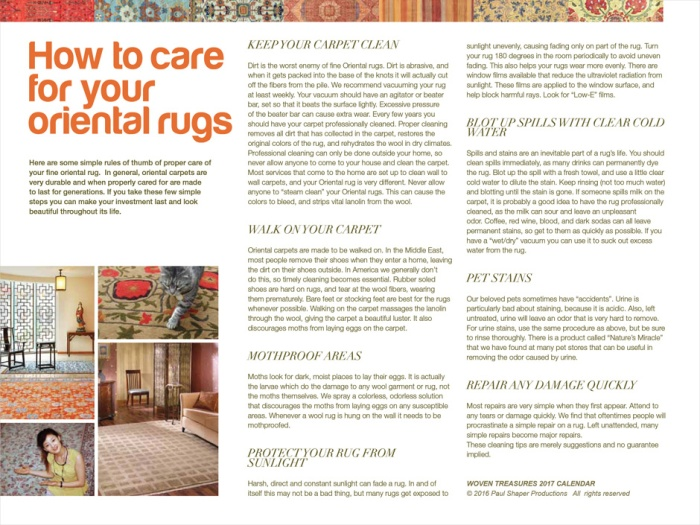 """guide about """"How to Care for Your Oriental Rugs"""""""